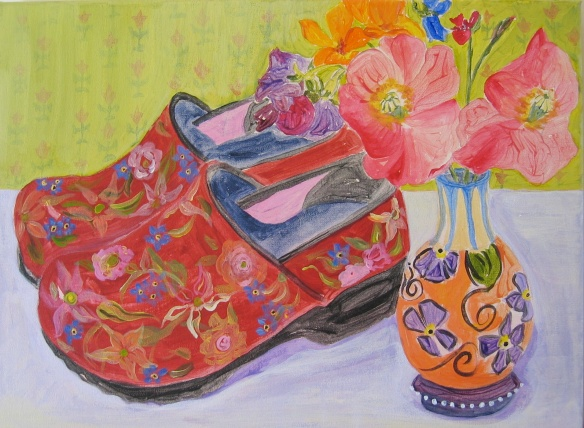 Painting of painted clogs by Romney Katy Gilmore 2009