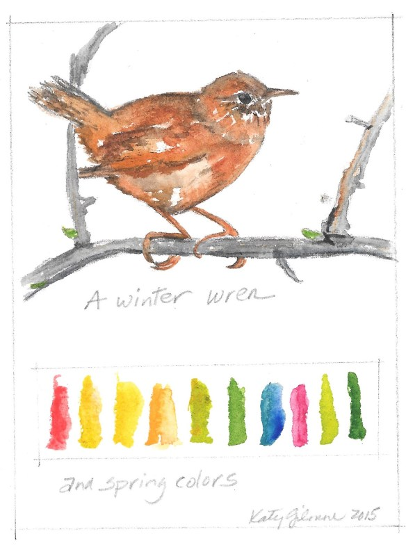 a Winter Wren and spring colors